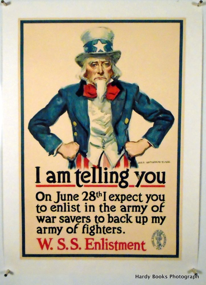"ORIGINAL POSTER: ""I AM TELLING YOU"". 1918. LINEN-BACKED WWI. James Montgomery FLAGG."