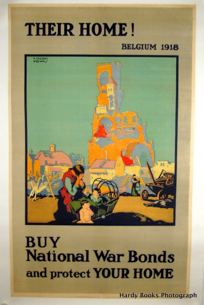 """THEIR HOME"" ORIGINAL WWI POSTER 1918 LINEN-BACKED. F. Gregory BROWN, Artist."