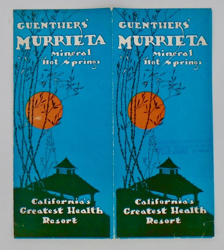 1927 GUENTHER'S MURRIETA HOT SPRINGS (CALIFORNIA) BROCHURE; Mineral Hot Springs. ANON.
