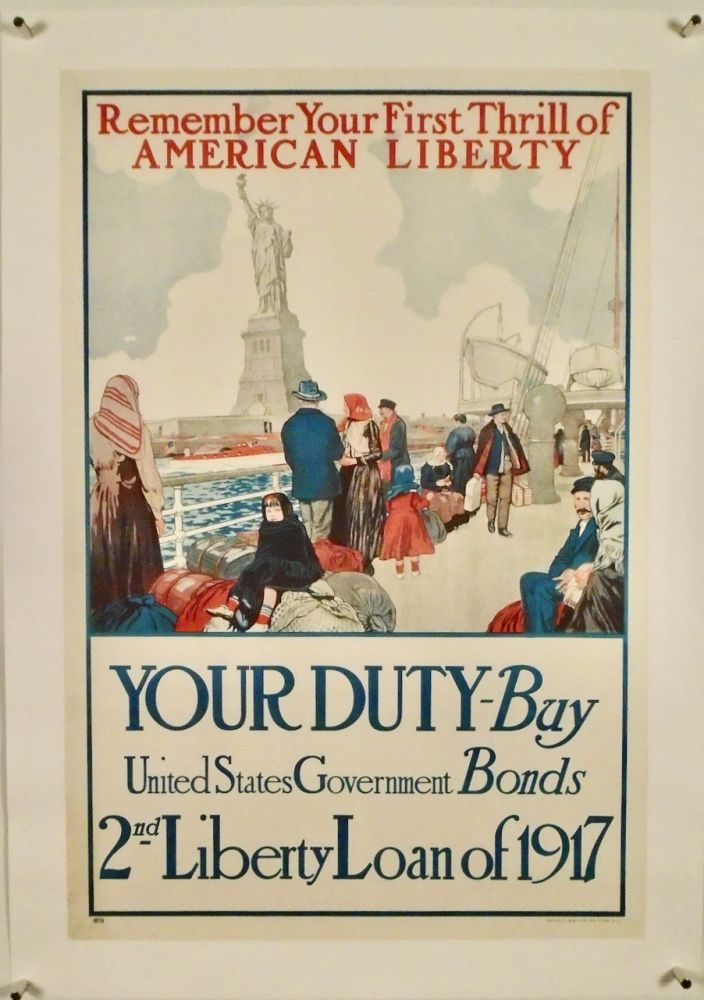 """ORIGINAL WWI POSTER: """"REMEMBER YOUR FIRST THRILL OF LIBERTY"""" LINEN-BACKED. Unknown Artist."""