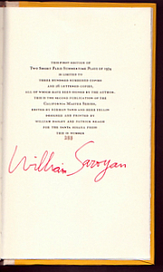 TWO SHORT SUMMERTIME PLAYS OF 1974. Assassinations and Jim, Sam and Anna. William SAROYAN.