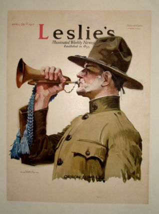 WWI Army Bugler/ Leslie's Weekly 1917 Cover, Paperbacked. Art, Orson LOWELL.