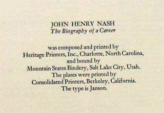 JOHN HENRY NASH The Biography of a Career