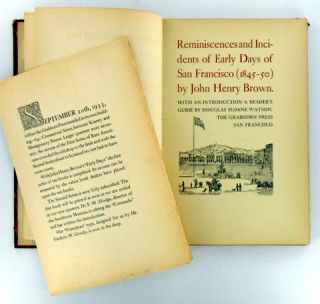(Grabhorn Press) REMINISCENCES AND INCIDENTS OF EARLY DAYS OF SAN FRANCISCO (1845-1850)