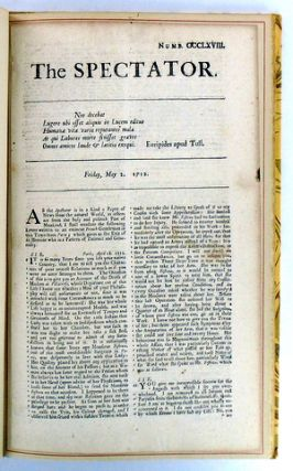 "(The Grabhorn Press) AN ORIGINAL ISSUE OF ""THE SPECTATOR""; Together with The Story of the Famous English Periodical and of its Founders, Joseph Addison and Richard Steele"