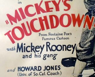 "ORIGINAL MOVIE POSTER: ""MICKEY'S TOUCHDOWN"""