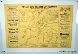 ORIGINAL MAP: NEVADA CITY, CALIFORNIA 1939 LINEN-BACKED. H. P. DAVIS