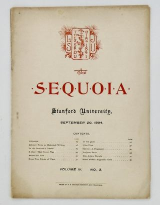 ORIGINAL: THE STANFORD SEQUOIA. SEPTEMBER 20, 1894; Volume X, No. 12. Stanford University Students