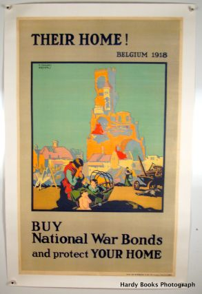 """THEIR HOME"" ORIGINAL WWI POSTER 1918 LINEN-BACKED"