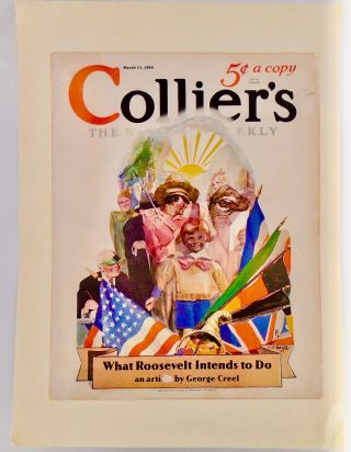 "ORIGINAL 1933 COLLIER'S COVER: ""WHAT ROOSEVELT INTENDS TO DO"" Franklin Delano ROOSEVELT, C. C...."
