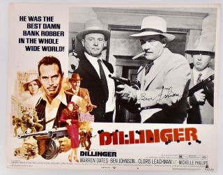 "ORIGINAL LOBBY CARD. ""DILLINGER"" SIGNED BY BEN JOHNSON 1973. Ben JOHNSON"