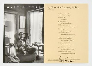 "BROADSIDE: ""ICY MOUNTAINS CONSTANTLY WALKING"" FOR SEAMUS HEANY. 1999. Gary SNYDER, SIGNED"
