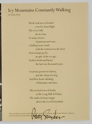 "BROADSIDE: ""ICY MOUNTAINS CONSTANTLY WALKING"" FOR SEAMUS HEANY. 1999"