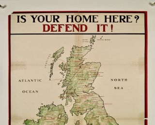 "ORIGINAL WWI POSTER: ""IS YOUR HOME HERE? DEFEND IT!"" 1915. LINEN BACKED"