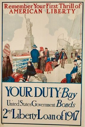 """ORIGINAL WWI POSTER: """"REMEMBER YOUR FIRST THRILL OF LIBERTY"""" LINEN-BACKED"""