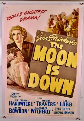 """ORIGINAL ONE-SHEET MOVIE POSTER """"THE MOON IS DOWN"""". LINEN BACKED"""