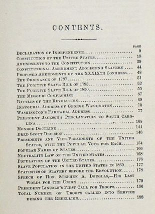 THE NATIONAL HAND-BOOK OF FACTS AND FIGURES, HISTORICAL, DOCUMENTAY, STATISTICAL, POLITICAL, FROM THE FORMATION OF THE GOVERNMENT TO THE PRESENT TIME. WITH A FULL CHRONOLOGY OF THE REBELLION